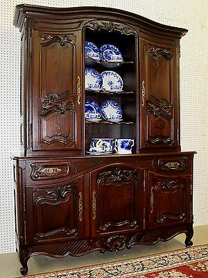 Antique Country French Vaisselier Cupboard Buffet Solid Quarter Sawn Oak C1895