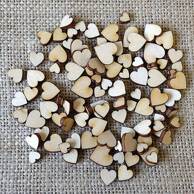 Wooden MINI MIXED HEART Birch Embellishments wedding craft card making scrapbook