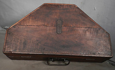 Antique German Sextant Dovetail Trapezoid mahogany Box Instrument Case Nautical