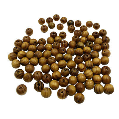 100pcs 10mm Round Spacer Beads Loose Wood Stripe Beads for Beading Crafts