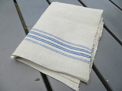 Unused Danish Handwoven Linen Towel Runner Dish Bath Cloth Blue Stripes 40""