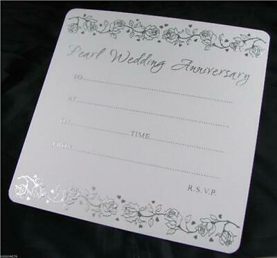 30th Pearl Wedding Anniversary White and Silver 10 Invitations With Envelopes