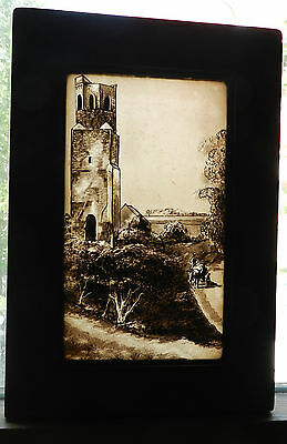 Antique Medieval Gothic Castle Ruin Tower Painting Stained Glass Sepia Panel