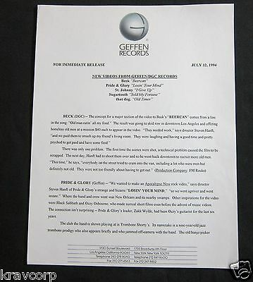 Beck/pride & Glory/that Dog—1994 Press Release