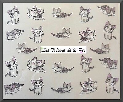 STICKERS ONGLES WATER DECAL (x21) - Nail art - Chats - Noir, gris & rose
