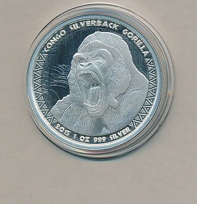 Congo - Gorilla - Silver Crown Proof - One Oz. Pure .999 -2015 - 5000 Francs