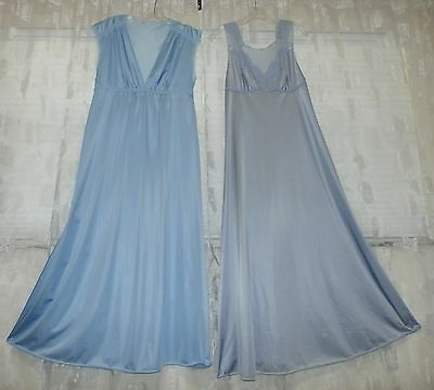 """Lot Of 2---Vintage Vanity Fair Lacy Nylon Nightgown--Bust To 36"""""""
