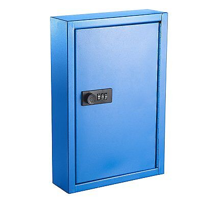 AdirOffice Secured 40 Key Cabinet with Combination Lock - Holds 40 Keys (BLUE)