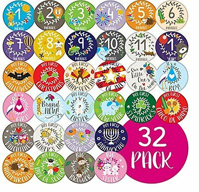 Ronica Baby Monthly Stickers LOT 32 Holidays Milestones Photos Record Growth NEW