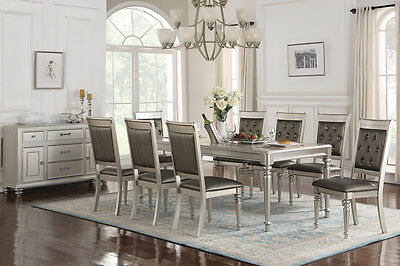 Stylish Zandra Formal Rectangular Metallic Silver Finish Wood Dining Table Set