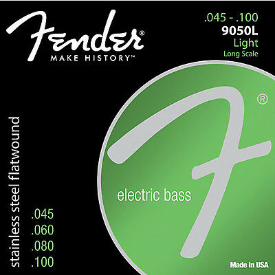 Fender 9050L Stainless Steel Flatwound Electric Bass Strings .045-.100