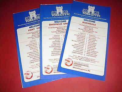 1981/82 York Home Programmes - Choose From List (1982)