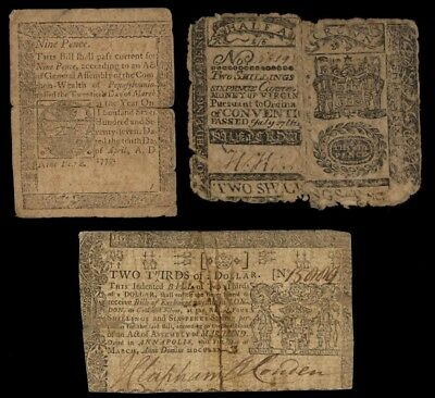 ICOIN - Three genuine Colonial Notes 1770 MD 2/3$ 1777 PA 9d 1775 VA 1/2 Crown