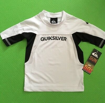 Quiksilver Boys Performer Black White 3/4 Sleeve Rash Guard Swim Shirt NWT Sz 2T