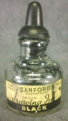 Vintage Sanford's Waterproof India Drawing Ink 1 oz. EMPTY Bottle