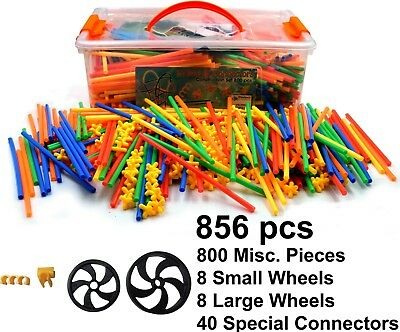 Straws and Connectors Building Construction Toy Incl. Wheels - 856 Piece Set