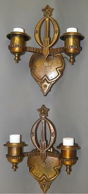 Antique Spanish Revival Deco Coppered Metal Pair Of Sconces Star Top Detail