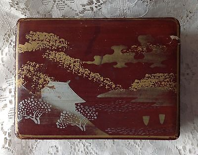 Antique Japanese Enamel Lacquer Hand Painted Wood Hinged Box