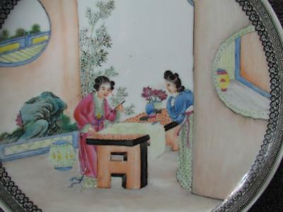 ANTIQUE  signed CHINESE PLATE or CHARGER with HAND PAINTED PEOPLE