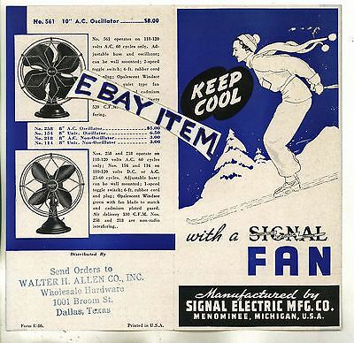 1937 SIGNAL ELECTRIC MANUFACTURING FANS pamphlet & price list MENOMINEE MICHIGAN
