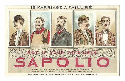 Old Puzzle Trade Card SAPOLIO SOAP Is Marriage A Failure Men Woman Maid