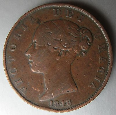 Great Britain, 1848/7 Half Penny 1/2d Victoria Scarce Date