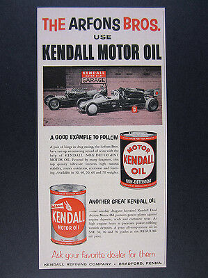 1960 Arfons Bros Dragsters drag cars photo Kendall Oil vintage print Ad