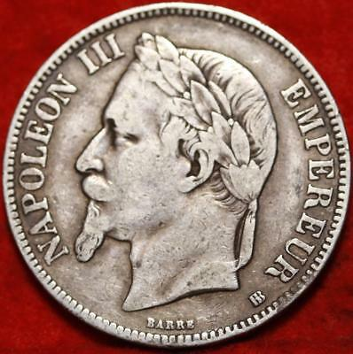1868 France 5 Francs Silver Foreign Coin Free S/H