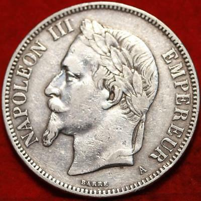 1870 France 5 Francs Silver Foreign Coin Free S/H