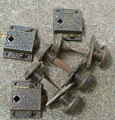 Lot of 3 Small Cabinet Door Latch Knob Eastlake Antique Iron