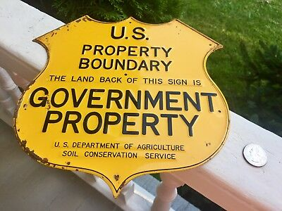 OLD VTG SIGN U.S PROPERTY BOUNDARY BADGE STYLE RARE LATE 1930's GOOD CONDITION
