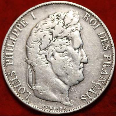 1845 France 5 Francs Silver Foreign Coin Free S/H
