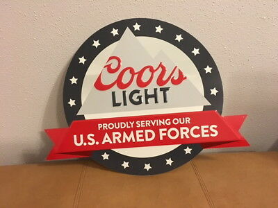 Coors Light Beer Sign Metal Tin Tacker Armed Forces Bar Brewery Man Cave T8
