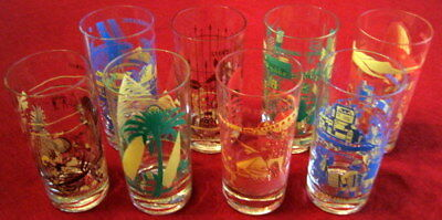 Vintage Set of 8 Coca-Cola Coke Around the World Drinking Glasses