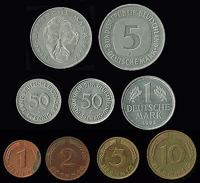 "GERMANY:-Stuttgart ""F"" mint mark 9 different post WW2 pre Eurozone coins ADP6019"