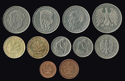 "GERMANY:- Karlsruhe ""G mint mark 11 diff post WW2 pre Eurozone coins. ADP6020"