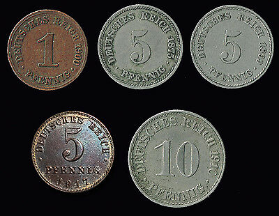 "GERMANY:-Empire. 5 different ""A""mm pre - WW1 circulation coins ADP6023"