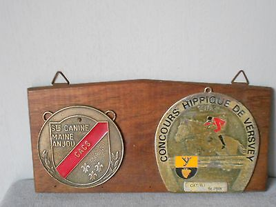 2 French AWARD metal Equine & Dog Plaques Signs on wood plaque