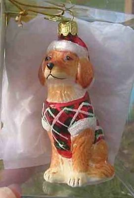 Delicate Glass GOLDEN RETRIEVER II Glass Xmas Ornament CLEARANCE SALE