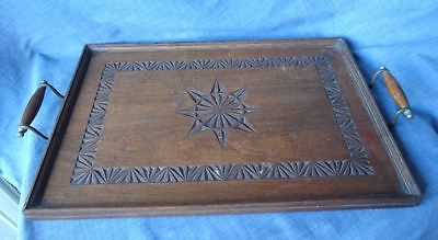 Antique Carved Wooden / Timber Drinks Serving Tray, Vintage, Brass Handles