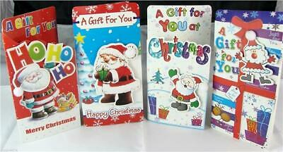 4 Novelty 3D Christmas Gift Money Voucher Xmas Present Wallets With Envelopes