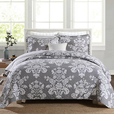 Cotton Quilted Bedspreads Floral Gray Coverlets Queen King Size Bed Pillow Cases