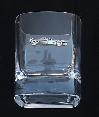 Formula 1 Car Pair of Crystal Tumblers Pewter Motift Presentation Box Gift