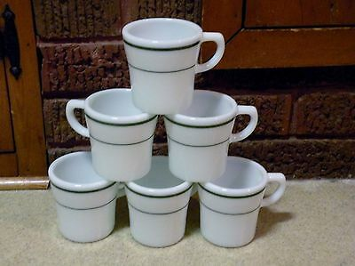 6 PYREX Tableware / Corning - Milk Glass Coffee Cups Mugs Set - Green Stripes