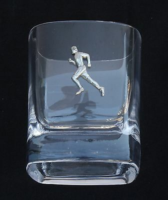 Male Runner Pair of Crystal Tumblers Pewter Motift Presentation Box Running Gift