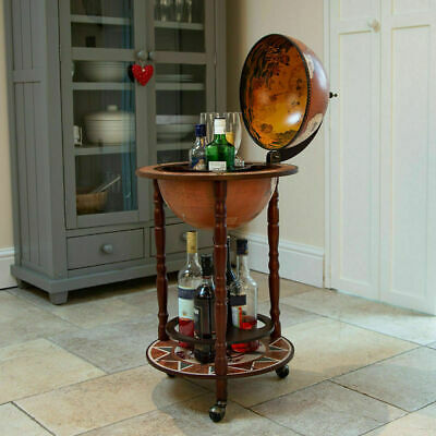 Small Globe Shaped Drinks Cabinet Mini Bar Trolley Vintage Retro Alcohol Booze