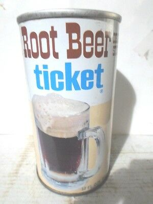 Ticket Root Beer Straight Sided Steel Soda Can / Pop Can