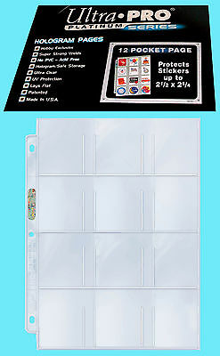 "50 ULTRA PRO PLATINUM 12 POCKET 2.5""x2.25"" Sheets Protectors Stickers Cards Tags"