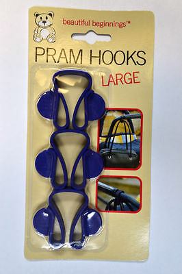 Beautiful Beginnings 3 x Large Pram or Buggy Blue Handle Hooks Bag Holder
