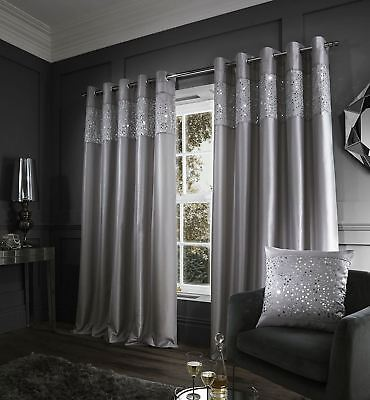 "Glitzy Curtains 90"" x 90"" Grey"